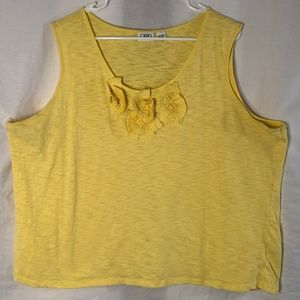 Cato Plus Size 26 28W Tank Top Yellow Floral 431